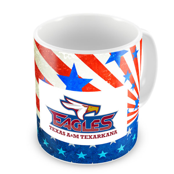 Patriotic TAMUT Eagles Mug - Logo Side