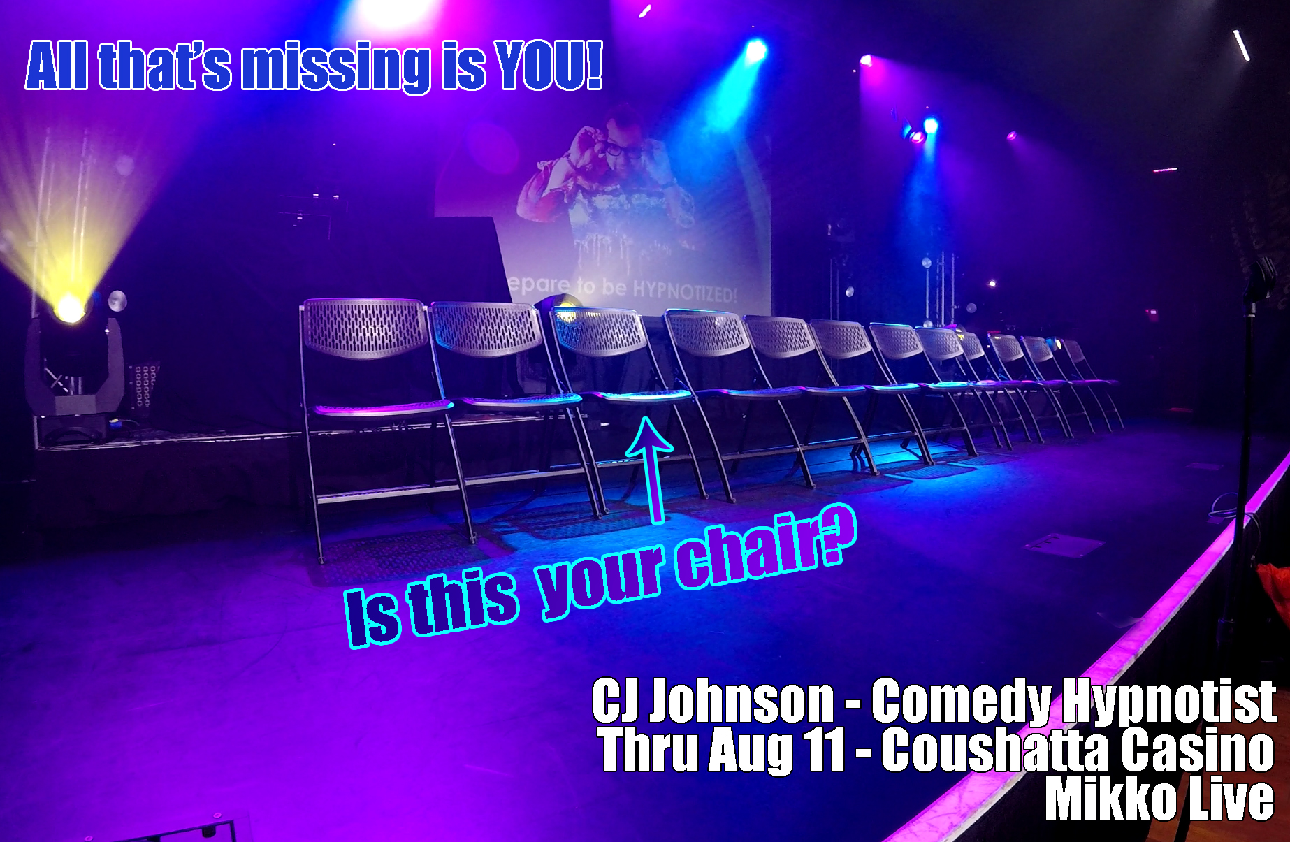 Hypnotist CJ Johnson at Coushatta Casino through Saturday, Aug 11, 2018