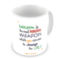1-Motivational Mug Sample -Education is the most powerful weapon - Nelson Mandela